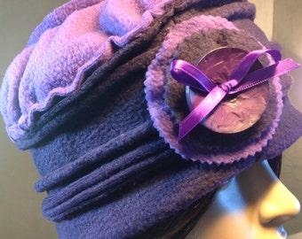 Cap / Hat purple fleece. Unique size