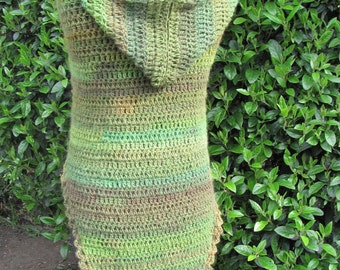 Hooded Triangular Shawl, Crochet Hooded Triangular Shawl,