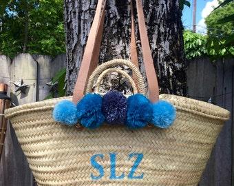 monogrammed bag with pompoms,  pompom straw bag, personalized straw bag, customized beach bag, market bag, market tote, toy storage basket