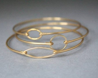 Gold Minimalist Bangle Bracelet Set,  Gold Bangle, Gold Bracelet, Jewelry, Gold Jewelry, Minimalist, Gifts for Her, Bridesmaids Gifts