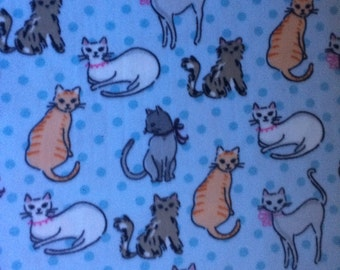 Fabric by the 1/2 Yard - Sketched Kitty Blue Anti-Pill Fleece