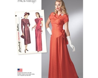 Simplicity Sewing Pattern 8249 Misses' 1940's Vintage Gown and Dress