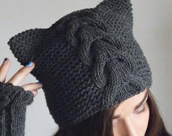 Pattern knitted hat cat ears, cap gray, Hand knit Animal Ear Hat, Grey beanie, Womans Beanie, Grey hat.