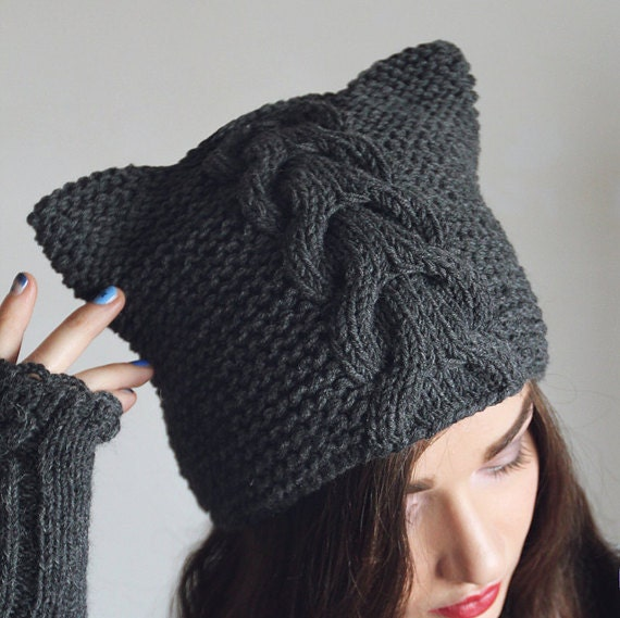 Knitting Patterns For Hats With Cat Ears : Pattern knitted hat cat ears cap gray Hand knit by NatalieKnit