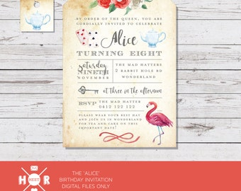 Printable - The 'Alice' in Wonderland Birthday Invitation