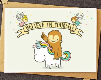 Funny Good Luck Card   Believe In Yourself   Unicorn Card   Bigfoot Card    Friendship  Good Luck Card Template