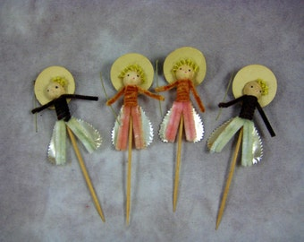 Vintage Cake Decorations - Conquistadors - Large (2) men and (2) woman - Cake Decorating Cupcake Don QuixoteJapan