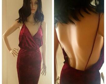 Burgandy Crush Velvet Dress