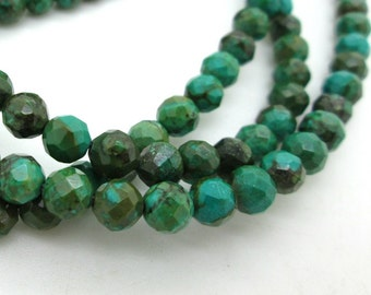 """Green Blue Turquoise Faceted Rounds, Chinese Turquoise Bead, Genuine Turquoise, 6mm (15"""" strand)"""