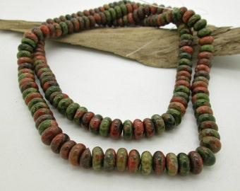 Natural Unakite Rondelle Bead, 8x4mm Stone Bead, Mixed Colors Bead, (44)