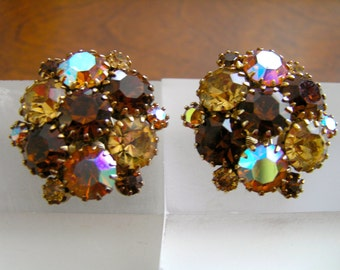 Weiss Amber Topaz Rootbeer Clip On Earrings, Weiss Topaz Rhinestone Earrings, Weiss Amber Round Rhinestone Earrings, Weiss Earrings MINT