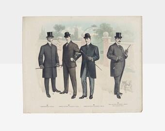 antique tailor's catalog men's fashion plate, vintage tailor's catalog plate, men's fashion plate, antique tailor's fashion plate