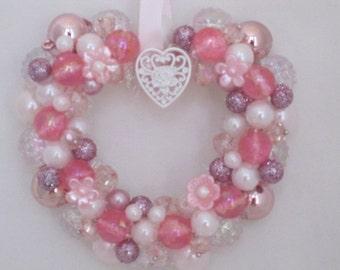 shabby Pink Beaded Miniature  Wreath Ornament