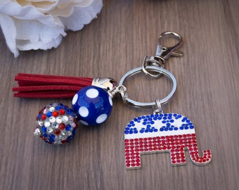 Republican Key Chain, Republican Elephant, Elections, Trump, Politcal Key Chain, Elephant, Red, White and Blue