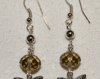 Earrings with beads faceted smoky quartz and silver Butterfly