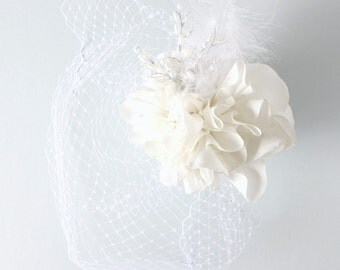 White & Pearl Birdcage Veil - bridal accessory / handmade fabric flowers / vintage bride