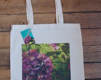 """""""Hydrangea"""" printed on organic cotton tote bag to carry shoulder cloth bag"""