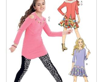 McCall's Pattern M7428 Girls' Back-Yoke Top, Drop-Waist Dress, Cold-Shoulder Tunic, Skirt and Leggings