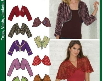 OUT of PRINT Simplicity Pattern 3921 Misses' Boleros and Capelets with Trim Variations