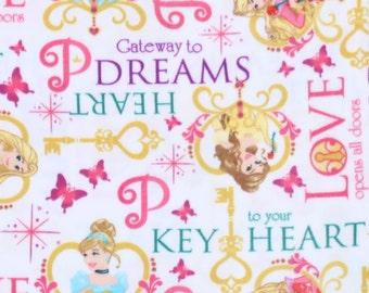Disney Princess Keys Heart Fleece Fabric Sold by the Yard