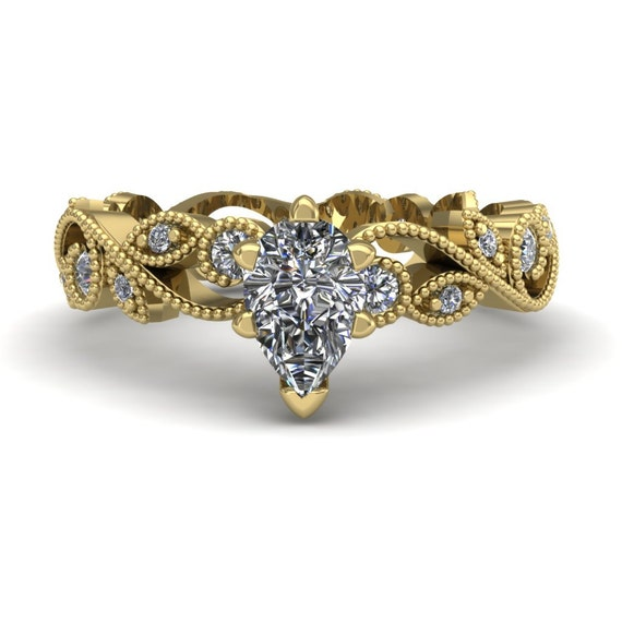 Pear Diamond Engagement Ring Half Carat by CharlesBabbDesigns