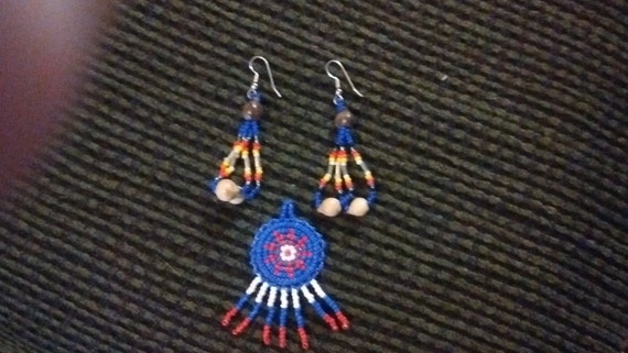 Native American Handcrafted Mandala Pendant and Earrings