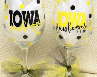 Iowa Hawkeyes Wine Glasses