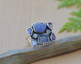 Rough Row Tanzanite Ring, Violet Blue Ring, Rainbow Moonstone, Iolite Gemstone Ring, Solid 925 Sterling Silver Jewelry, Gift Ring Size 8