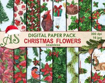 Digital Christmas Flowers Seamless Watercolor Paper Pack, 16 printable Digital Scrapbooking papers, new year, Instant Download,set 348