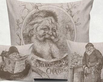 3 Digital Vintage Santa for Tea Towels, black and sepia, Papercrafts, Transfer, christmas clip art, burlap, Instant Download, poster, N48