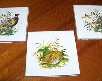 Reduced: Vintage Set of Three Unused Wildlife Porcelain Ceramic Tiles with a Quail and Pheasants Design