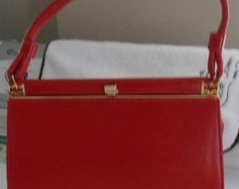 SALE Vintage 60's Red Leather Handbag Purse