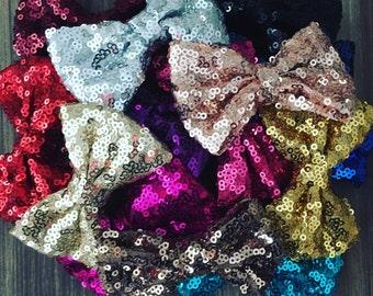 Glitter Sequin Bows - Alligator Clip Bow - Baby Girl Glitter Bows