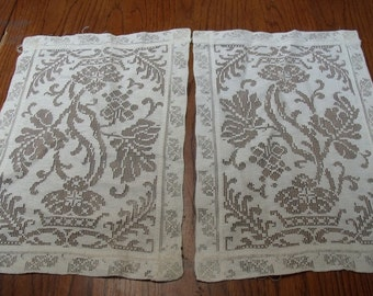 Set of two vintage lace dolies 12 x 9.5 inches - off white