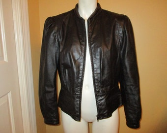 Vintage Foxmoor black leather jacket size S