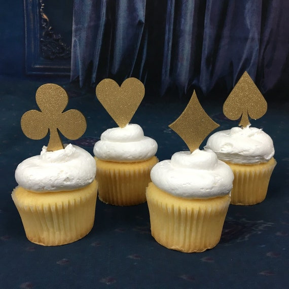 Poker Cupcake Toppers, Alice in Wonderland, Poker Party, Tea Party, Casino Party, Casino Night, Wonderland Cupcake, Tea Party Birthday,