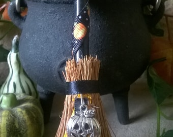 Samhain Besom Pumpkin Halloween Witches Broom Altar Mini Broomstick - Witch - Witchcraft - Magick - Pagan - Wiccan - Altar