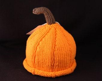 Newborn - Pumpkin - knit baby hat - baby knit hat  - baby hat knit - newborn knit hat - knit hat newborn - newborn photo prop