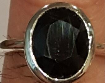 4 CT.Dark Blue Sapphire Set in Sterling Silver Bezel Set
