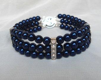 navy blue  glass Pearl Bracelet,pearl And Rhinestone Bracelet,6mm pearl Bracelet,Wedding Jewelry,Bridesmaid Bracelet,3 Strandsl Bracelet,