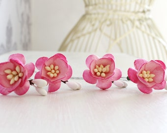 Blossom Hair Pins, Pink Cherry Blossom Hair pins, Flower hair pins, bridal hair pins, wedding hair pins