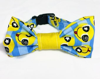 "Cat Bow Tie Collar - ""Smileys"" - Safety Buckle/Breakaway - Blue/Yellow"