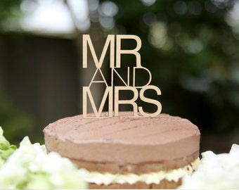 Mr and Mrs Bamboo Cake Topper Contemporary | Wedding Cake Topper | Wood cake topper