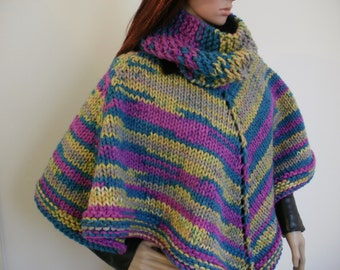 Knitted poncho, cowl with poncho, colourful women's poncho, knitted cowl, super chunky knit poncho, hand knitted poncho, unique ooak knit.