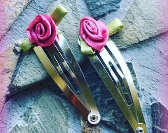Dark Pink and Green Rose Floral Snap Clip Set