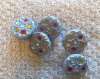 """Vintage Painted Floral Blue Glass Button, Size Small 1/2""""; Self shank"""