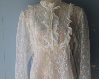 Vintage 60s White Lace Shirt With High Neck/Frilly Neck/Frilly White Shirt/Boho Glam/Victorian/