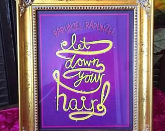 Rapunzel, Rapunzel Let Down Your Hair Digital Print • 8X10 Tangled Rapunzel Disney Princess Party
