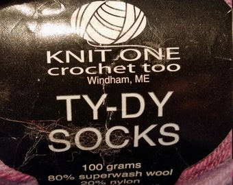 Knit One, Crochet Too, Ty Dy Socks, Color 1672, purples and green variegated