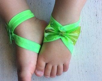Barefoot sandals; baby barefoot sandals; neon green sandal ; toddler barefoot sandal; sandal